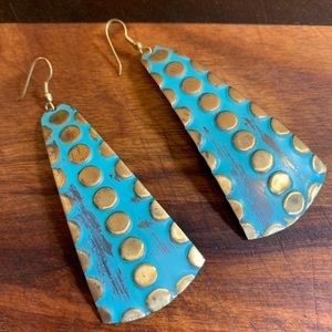 Brass Turquoise Distressed Danglers